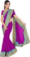 MGS Solid Fashion Chiffon Saree(Purple)