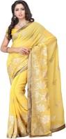 Meghdoot Solid Fashion Chiffon Saree(Yellow)