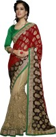Khushali Self Design, Embellished, Embroidered Fashion Net Saree(Red, Brown, Beige)