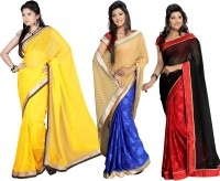 Silkbazar Self Design Fashion Jacquard Saree(Pack of 3, Multicolor)