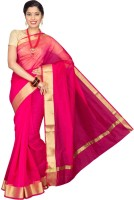 Pavechas Solid Banarasi Cotton, Silk Saree(Pink)