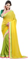 Lookslady Self Design Fashion Georgette Saree(Yellow)