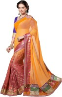 Admyrin Self Design Fashion Chiffon Saree(Orange, Pink)