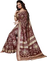 Bhavi Printed Fashion Art Silk Saree(Maroon)