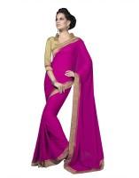 Suvastram Printed Fashion Poly Georgette Saree(Pink)