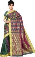 M.S.Retail Embellished Arani Pattu Handloom Silk Saree(Green)