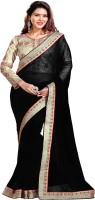 Sourbh Sarees Self Design, Solid, Embroidered Fashion Synthetic Georgette Saree(Black)
