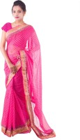 Fab Rajasthan Embellished Fashion Handloom Pure Chiffon Saree(Pink)