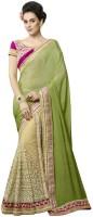 Desi Butik Embellished Fashion Chiffon, Net Saree(Green)