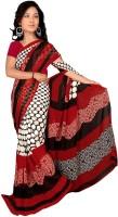Khushali Self Design, Printed Fashion Georgette Saree(White, Red, Multicolor)