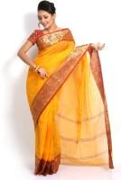 Purabi Woven Tant Handloom Cotton Saree(Yellow)