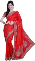 Ambition Embellished Fashion Silk Saree(Red)