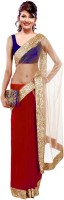 Winza Embroidered, Embellished, Solid, Self Design Bollywood Net, Georgette Saree(Beige, Red)