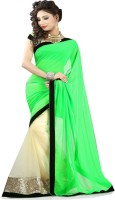 Winza Embroidered, Embellished, Solid Fashion Chiffon, Net Saree(Green, Beige)