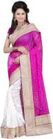 Ansu Fashion Floral Print Fashion Brasso Saree(Pink)