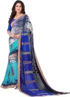 Vastrani Embroidered Fashion Georgette Saree(Blue, Black)