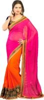 Vastrangam Embroidered Fashion Poly Georgette Saree(Pink, Orange)
