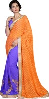 Khoobee Self Design, Embroidered, Embellished Fashion Cotton Blend, Chiffon Saree(Purple, Orange)