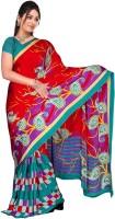 Khoobee Printed Fashion Poly Crepe Saree(Red, Green)