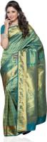 Mimosa Printed Kanjivaram Handloom Art Silk Saree(Dark Green)