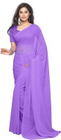 Surupta Solid Daily Wear Pure Georgette Saree(Purple)