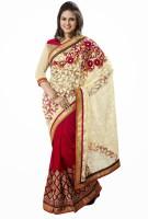 Khushali Self Design, Embroidered Fashion Georgette, Net Saree(Beige, Red, Pink)
