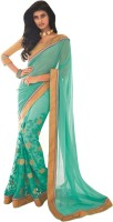 Vishal Solid Fashion Chiffon Saree(Green)