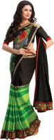 Indianbeauty Printed, Solid Bollywood Pure Chiffon, Satin Saree(Black, Green)