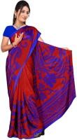 Khoobee Printed Fashion Poly Crepe Saree(Red, Blue)