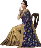 M.S.Retail Embroidered Bollywood Georgette, Shimmer Fabric Saree(Dark Blue)
