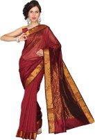 Vastrakala Solid, Striped Fashion Cotton, Silk Saree(Maroon)