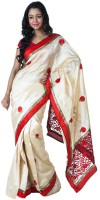 SSMITN Solid Fashion Silk Saree(White)