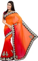 Indianbeauty Self Design Bollywood Georgette Saree(Orange, Red)
