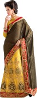 Khushali Self Design, Embroidered Fashion Net Saree(Brown, Yellow)