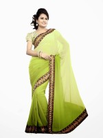 Dancing Girl Embroidered Bollywood Georgette Saree(Green)