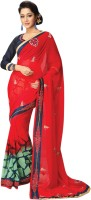 Vibes Embroidered Fashion Synthetic Georgette Saree(Red)