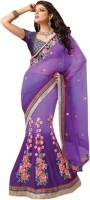 Aagaman Fashion Self Design Lehenga Saree Net Saree(Purple)