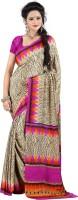 Jiya Self Design, Printed Fashion Cotton Blend, Poly Crepe Saree(Multicolor, Pink, Beige)