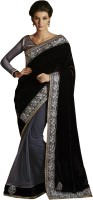 Ewows Self Design Fashion Jacquard Saree(Black)