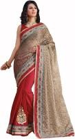Admyrin Solid Fashion Georgette, Jacquard Saree(Red, White)