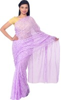 Knool Self Design Lucknow Chikankari Handloom Georgette Saree(Purple)