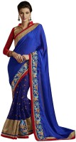 Desi Butik Self Design Fashion Chiffon Saree(Blue)