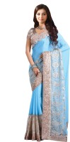 Chirag Sarees Embroidered Bollywood Crepe Saree(Blue)