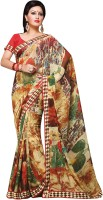 Vibes Printed Fashion Georgette Saree(Red)