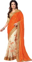 M.S.Retail Embroidered Fashion Brasso, Net, Shimmer Fabric Saree(Orange, White)