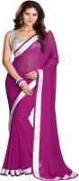 Sourbh Sarees Solid Fashion Georgette Saree(Purple)