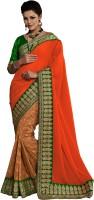 We Desi Self Design Fashion Georgette Saree(Orange)