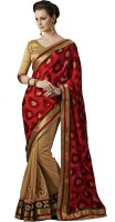 Melluha Embroidered Fashion Brasso Saree(Red)