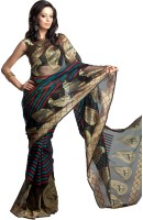 Kataan Bazaar Woven Banarasi Handloom Net Saree(Black)