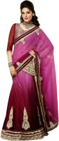 Triveni Self Design Fashion Net, Satin Saree(Maroon, Pink)